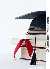 graduación, odio, rúbrica, y, pila de libro
