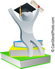 graduación, persona, en, libros