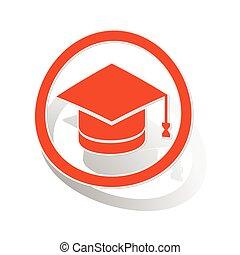 graduación, señal, pegatina, naranja
