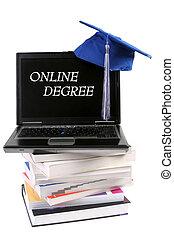 graduación, sombrero, y, computador portatil