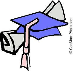 graduación, sombrero, y, diploma