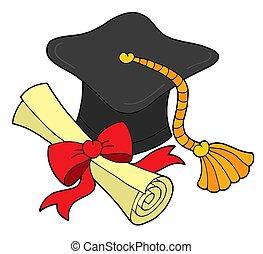 graduación, sombrero, y, rúbrica