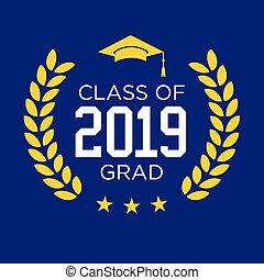 graduado, clase, 2019, estrellas, felicitaciones, borla, ...