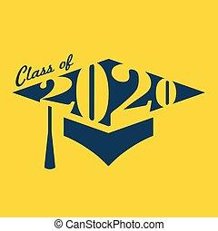 graduado, clase, 2020, tipografía, felicitaciones, borla, ...