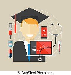 graduado, clase, salud, médico, educación en colegio