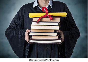 graduado, con, libros, y, diploma