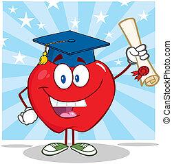 graduado, diploma, segurando, maçã