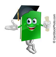 graduado, educação, livro, mascote