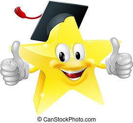 graduado, estrella, mascota