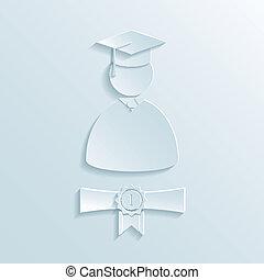 graduado, estudiante, silueta