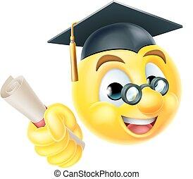 graduado, graduación, emoji, emoticon