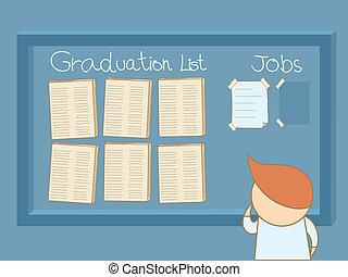 graduado, hombre, buscar un trabajo, a bordo