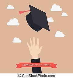 graduado, jogar, chapéus, graduação, ar, mão