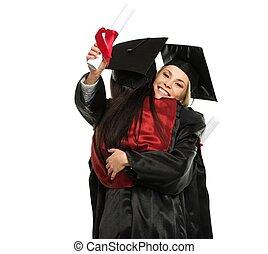 graduado, meninas, jovem, abraçando, feliz
