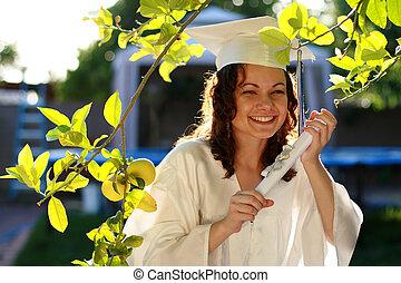 graduado, mulher feliz, diploma, jovem