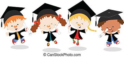 graduado, niños