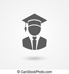 graduado, o, profesor, en, un, birrete, sombrero