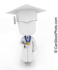 graduado, orgulhosamente, mostrando, seu, medalha