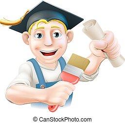 graduado, pintor, decorador