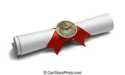 graduado, rúbrica, diploma