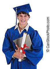 graduado, segurando, feliz, masculino jovem, diploma, laptop