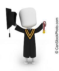 graduado, segurando, seu, medalha, cima alto