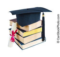 graduado, sombrero, libros, y, rúbrica
