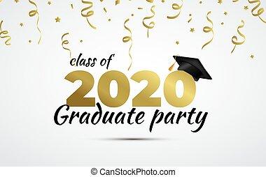 graduado, vector, fiesta., clase, taza, 2020, graduación, ...
