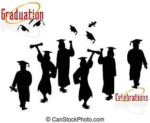 graduados, celebrar, su, éxito