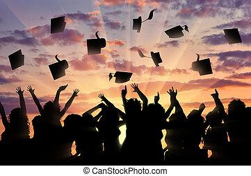 graduados, ocaso, tiro, diplomado gorra