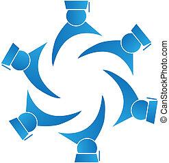 graduados, trabajo en equipo, logotipo