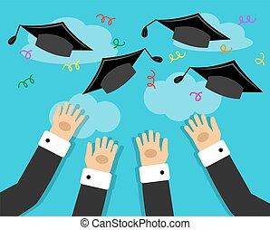 graduados, y, el, alegría, de, graduación