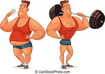 Gradual development - Strongman shakes biceps, lifting large...