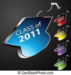 graduar, botões, boné, classe