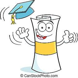 graduar, caricatura, diploma