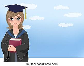 graduar, estudiante, feliz