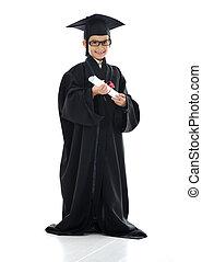 graduar, poco, exitoso, escuela, diploma, estudiante, elemental, niño