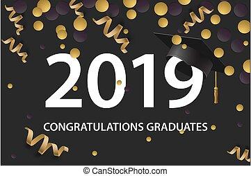 graduar, tarjeta, illustration., oro, vector, clase, colors., 2019., invitación, fiesta, cartel, grad, saludo