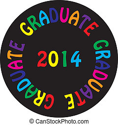 GRADUATE 2014 colorful ON BLACK BACGROUND