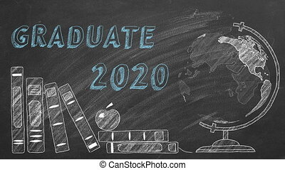 Lettering GRADUATE 2020, rotating globe and school books are drawn with chalk on a blackboard.