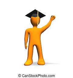 Graduate - 3d illustration looks graduate on the white...
