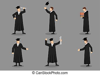 Graduate and Graduation Vector Icon Set