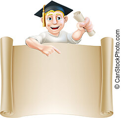 Graduate and scroll banner sign - Cartoon man in moratar...