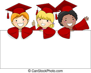 Graduate Banner - Illustration of Kids Posing Behing a Large...