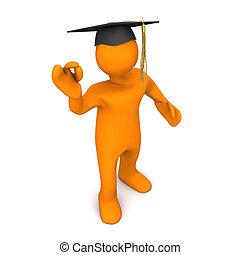 Graduate Black Super - Orange cartoon character with black...