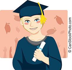 Graduate Boy - Handsome blond man smiling celebrating...