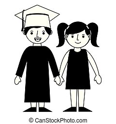 graduate boy holding hand her sister