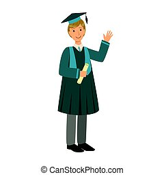 Graduate boy in the mantle holding graduation diploma scroll. Colorful cartoon illustration