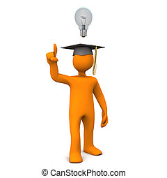 Graduate Bulb - Orange cartoon character with black...