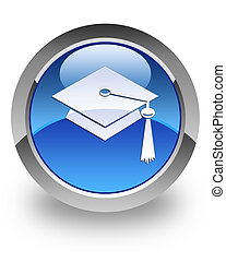Graduate cap icon on glossy blue round button